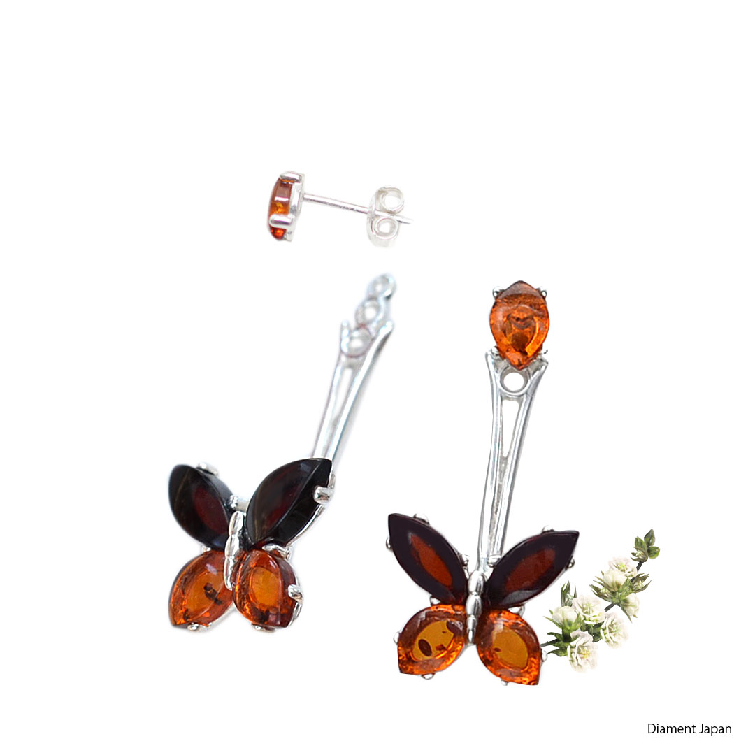 蝶々モチーフ【琥珀アクセサリー】バルト海産出の天然アンバー