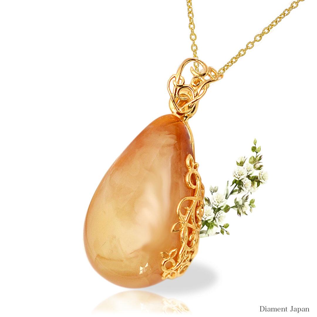 アンティークアンバー【珍しい石目の琥珀】華やかな琥珀アクセサリー/バルト海産出