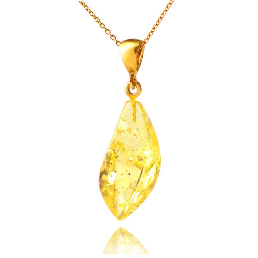 琥珀ペンダント、ライトイエローアンバーのルースタイプペンダント 天然石