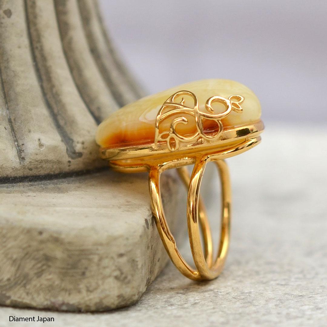 【琥珀アクセサリー】ロイヤルアンバーのフリーサイズリング(調整可能な指輪)天然石アクセサリー