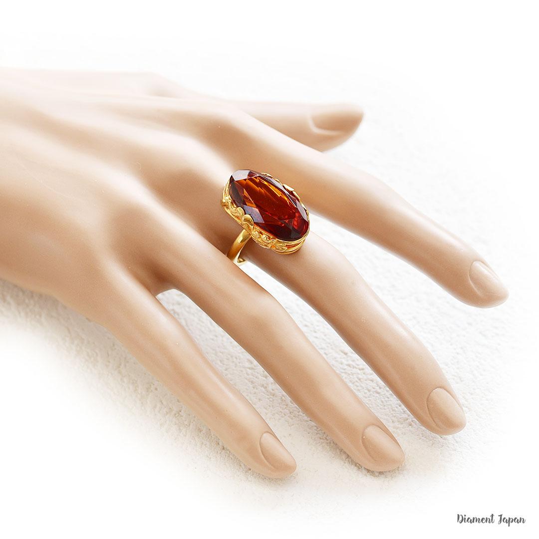 【琥珀】チェリー色の琥珀リング【華やかなファセットカット】バルティックアンバーの指輪です。