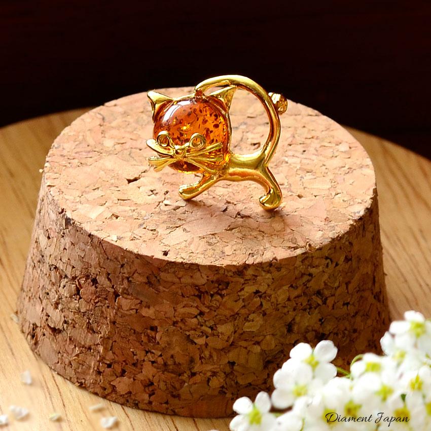 キャットモチーフアクセサリー、猫の琥珀ブローチ(バルティックアンバー)天然石ジュエリー