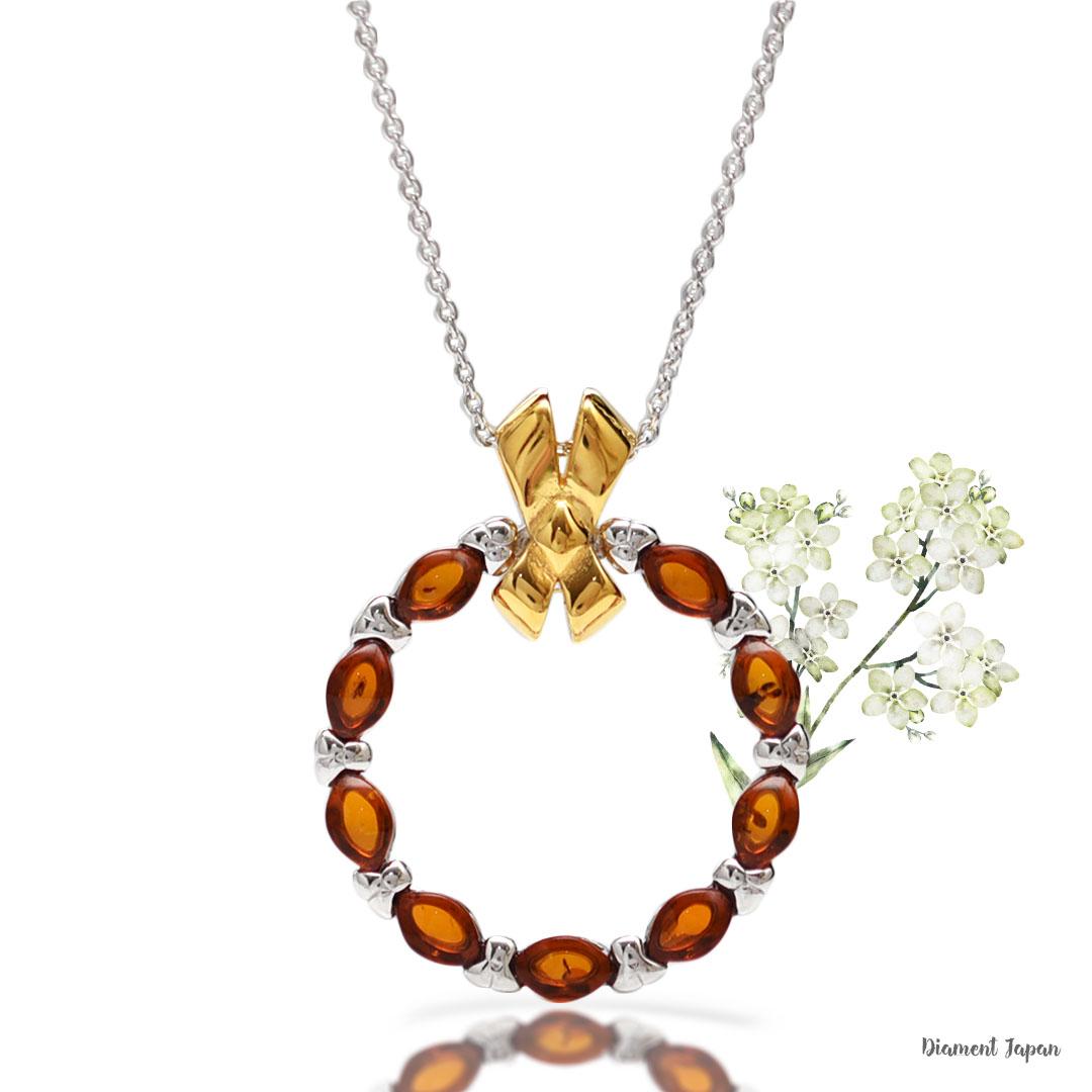 【琥珀アクセサリー】お花リースデザインの美しい琥珀ペンダント/コニャックアンバーネックレス