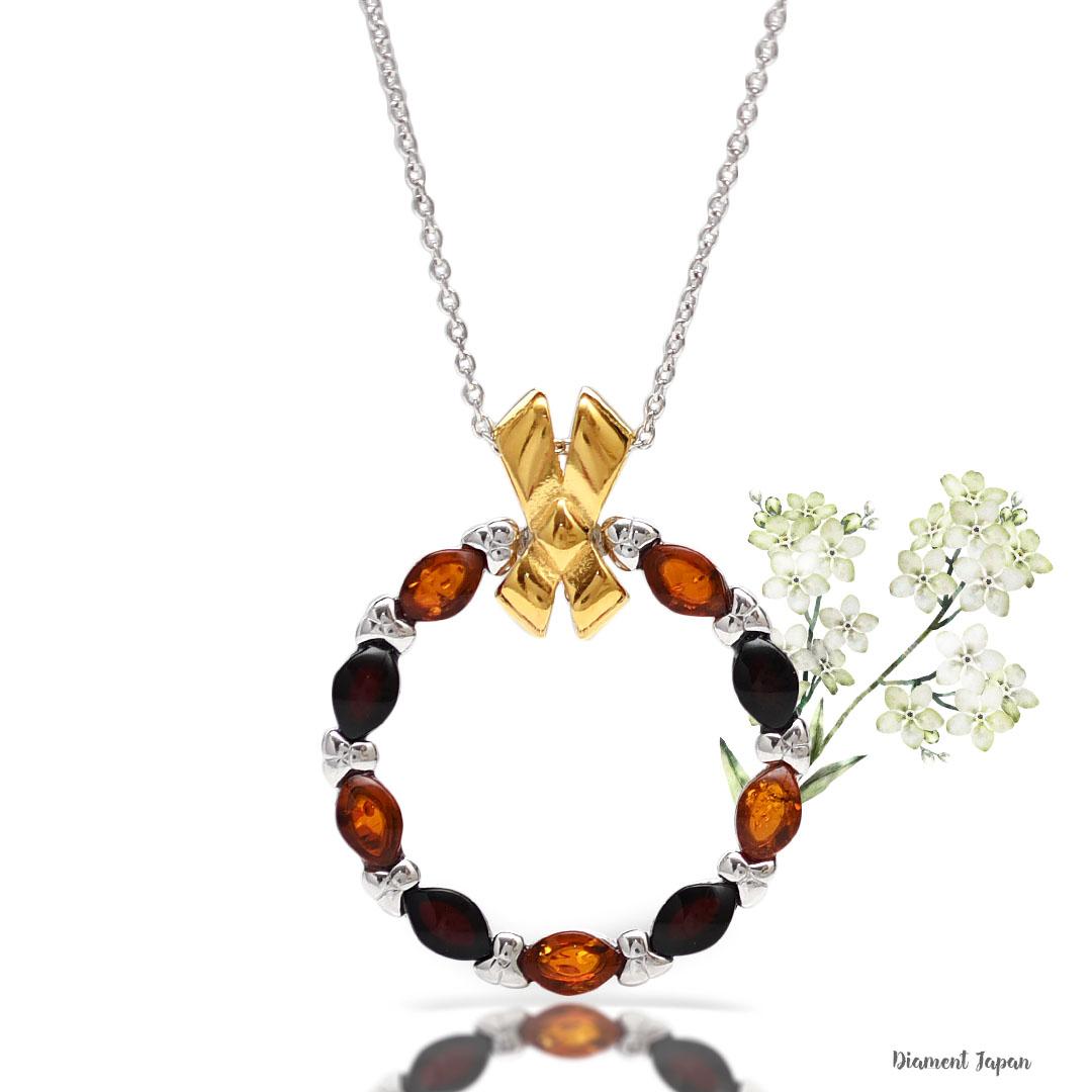 【琥珀アクセサリー】お花リースデザインの美しい琥珀ペンダント/マルチカラーアンバーネックレス