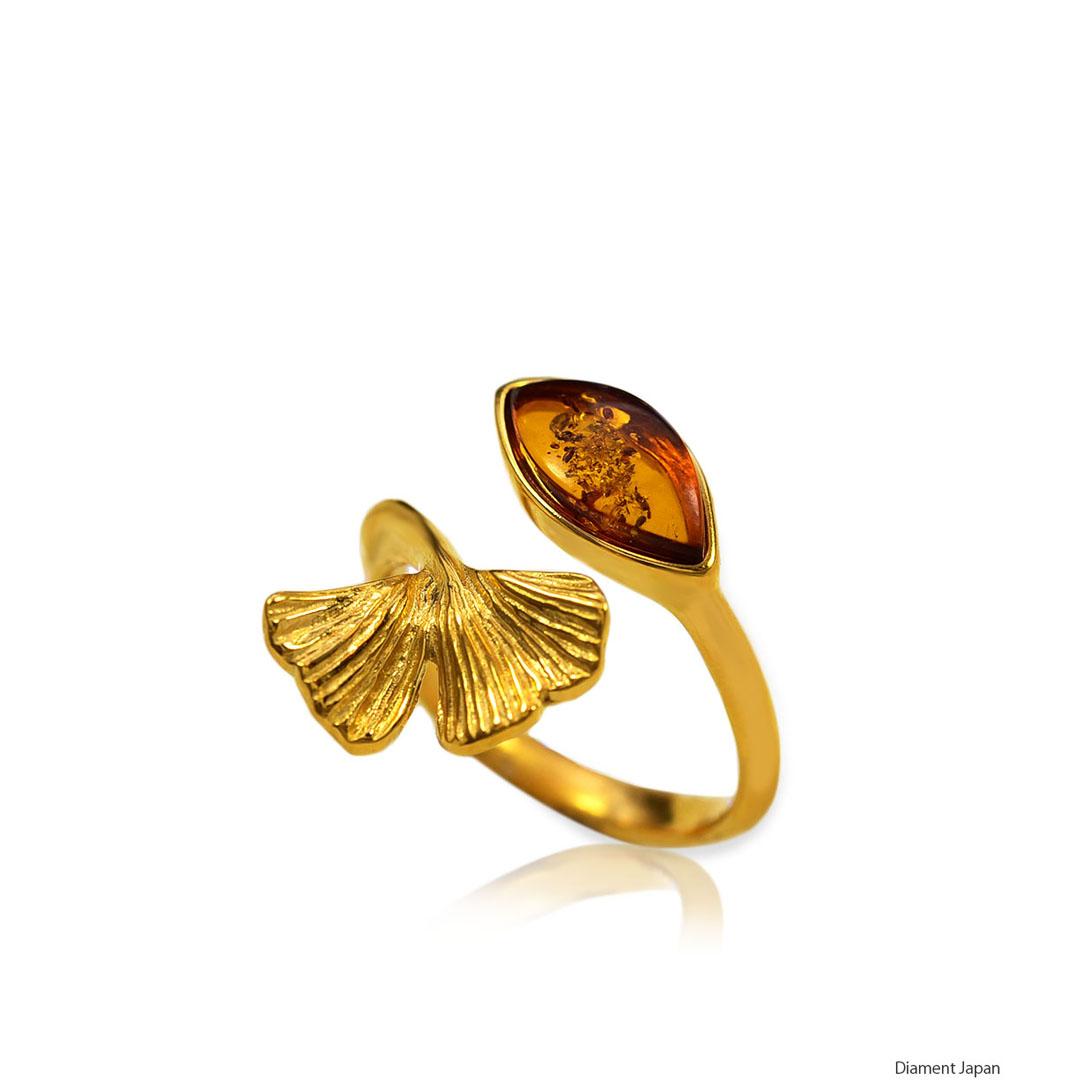 イチョウの葉デザイン【琥珀リング】バルト海産のコニャックアンバー指輪