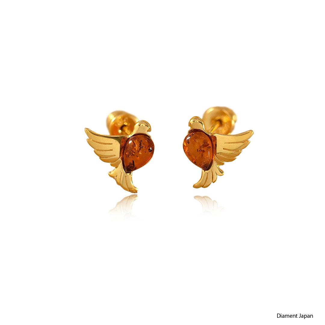 琥珀ピアス【琥珀アクセサリー】コニャックアンバー【幸せを運ぶ鳥デザイン】