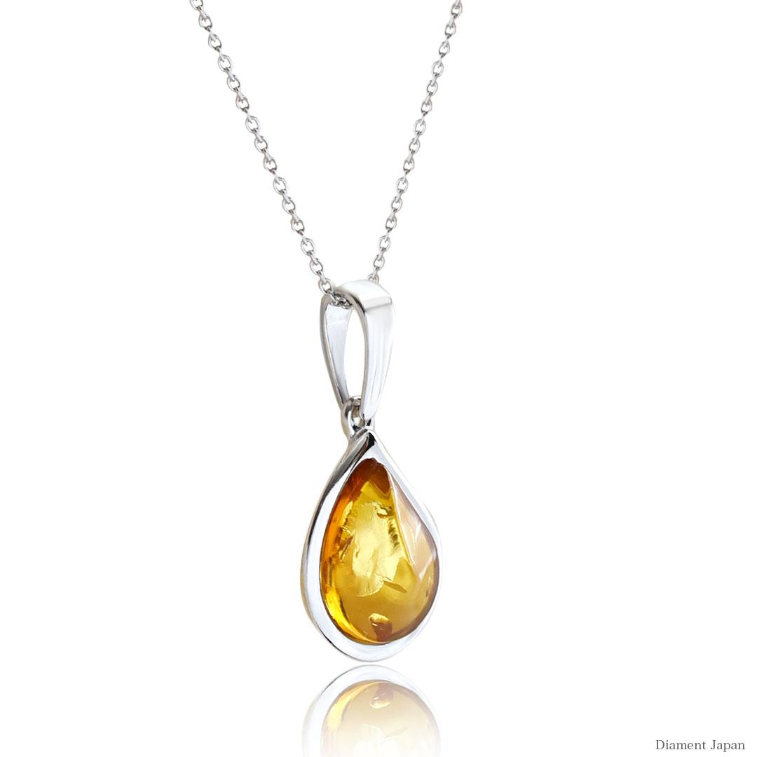 イエローアンバーの美しい天然琥珀アクセサリー【Silver925ロジウムコーティング仕上げ】天然石アクセサリー