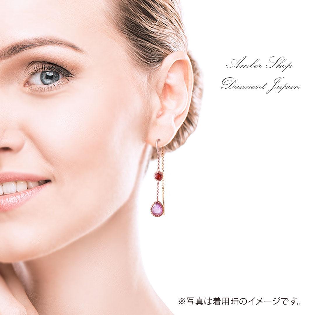 【琥珀ピアス】琥珀&アメジストチェーンピアス【アメリカンピアス