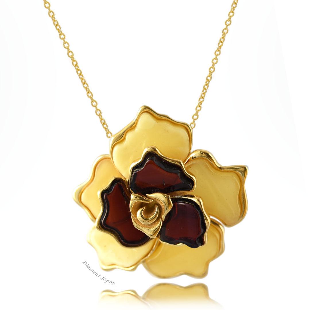 琥珀アクセサリー【LUX】薔薇モチーフの美しいアンバーペンダント・ロイヤルアンバー&チェリーアンバー