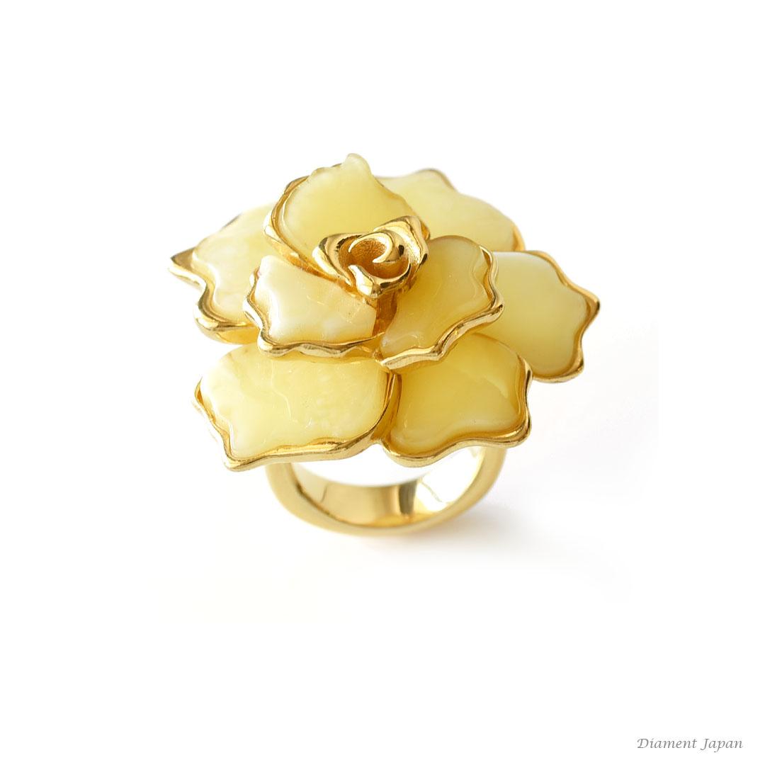 琥珀アクセサリー【ロイヤルアンバーのリング】薔薇、フラワーリング、琥珀リング