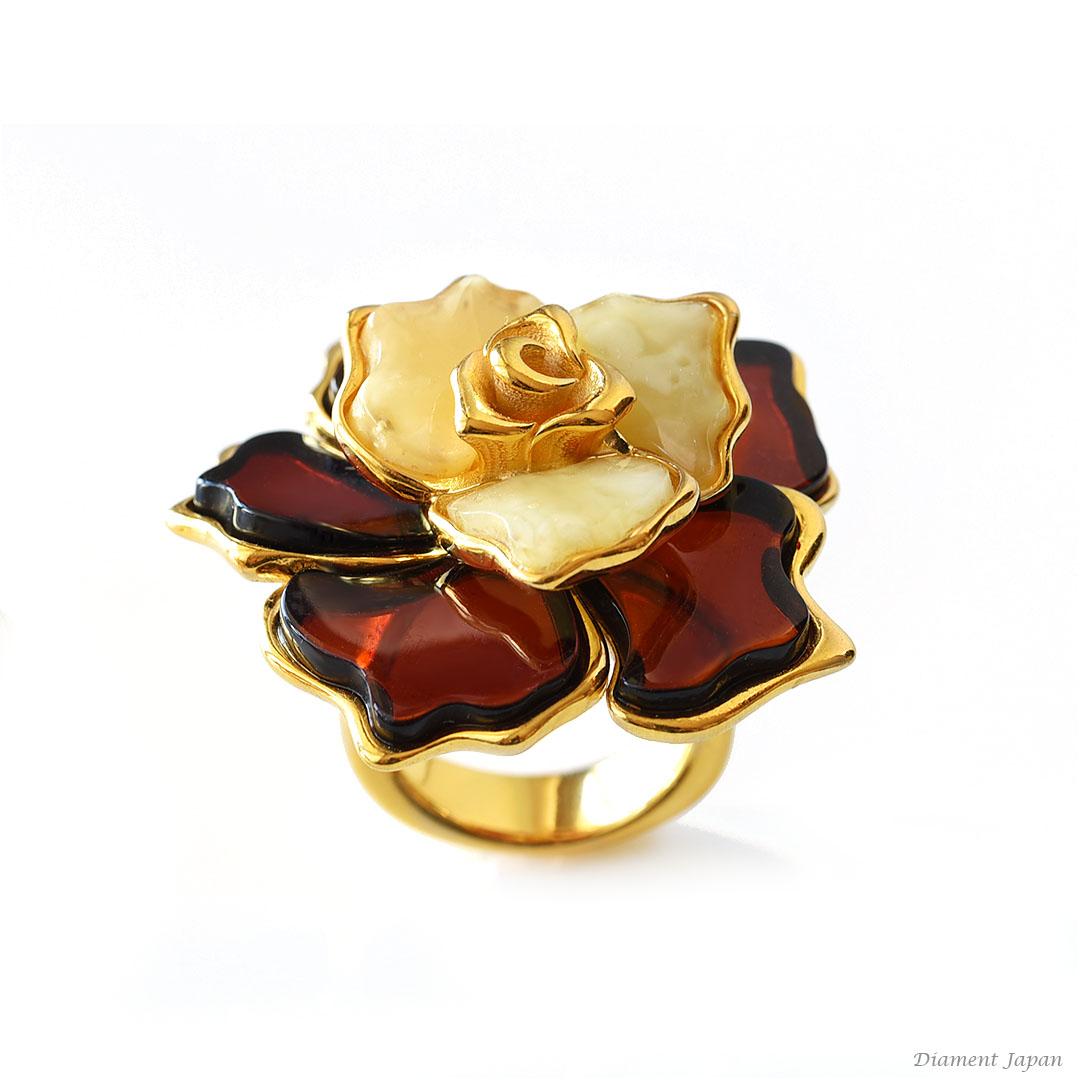琥珀アクセサリー【ロイヤルアンバー&チェリーアンバーのリング】薔薇、フラワーリング