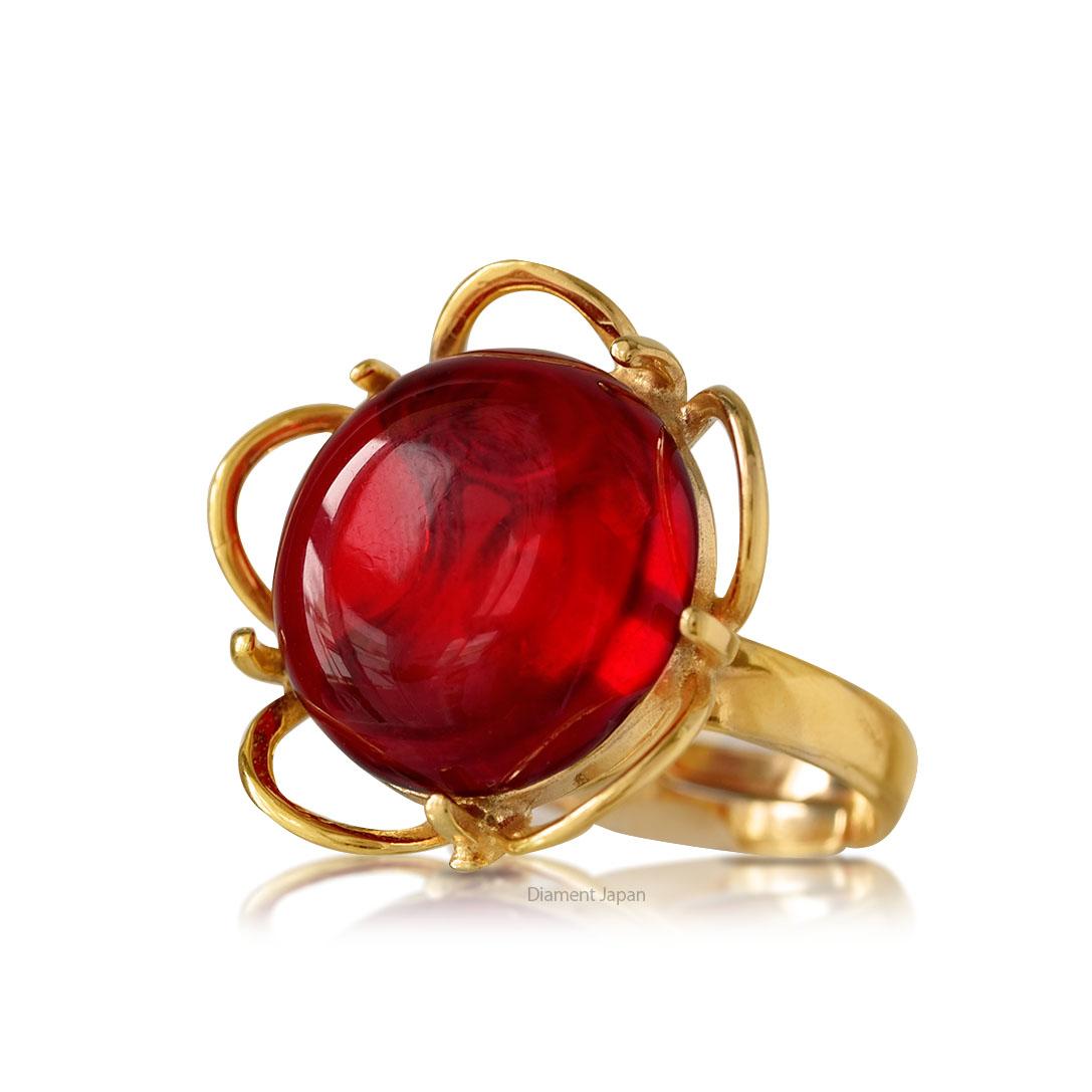 琥珀アクセサリー レッドアンバーの指輪・リング